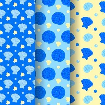Set van naadloze zeeschelp patroon