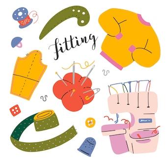 Set van naaien gereedschappen en apparatuur