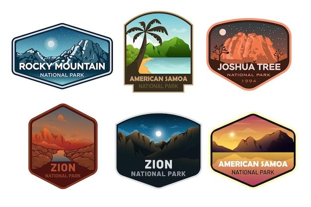 Set van nationaal park badge embleem