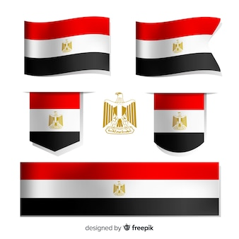 Set van nationale vlaggen van egypte