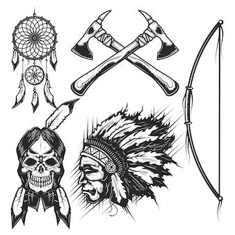 Set van native american's schedels