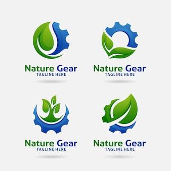 Set van nature gear logo-ontwerp