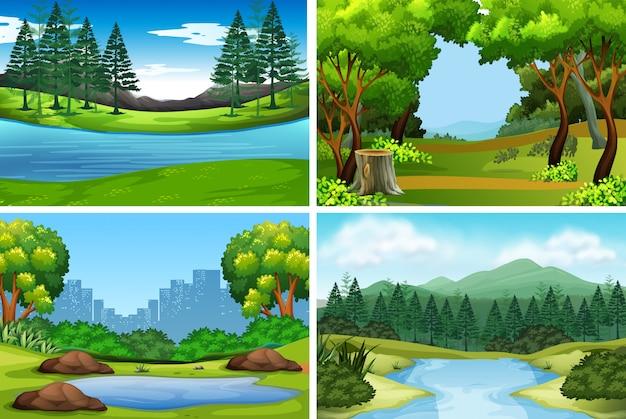 Set van natuur achtergronden