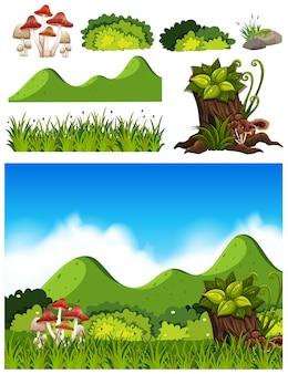 Set van natuur decoratie landschap