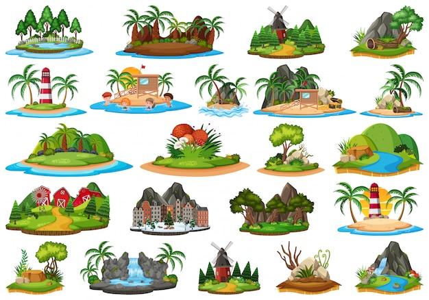 Set van natuur eiland