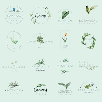 Set van natuur- en plant logo-vectoren