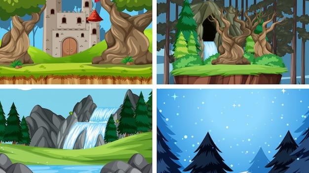 Set van natuur landschap achtergrond achtergrond