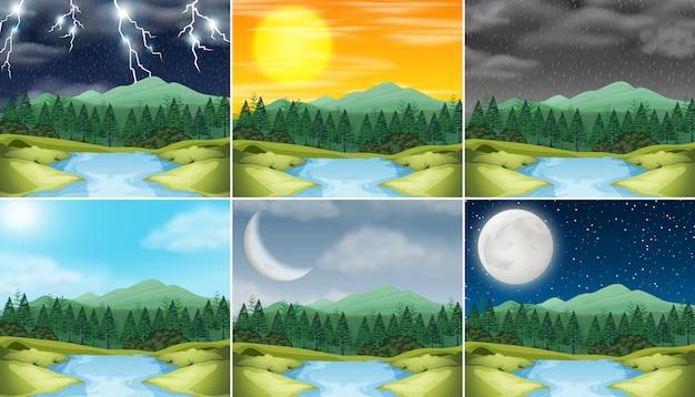Set van natuur landschap verschillende weer