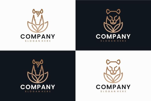 Set van natuurdieren, logo-ontwerpinspiratie