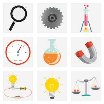 Set van natuurkunde en scheikunde apparatuur