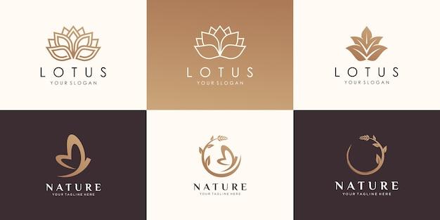 Set van natuurlijk logo-ontwerp.