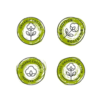 Set van natuurlijke biologische katoenen voering etiketten en insignes - vector ronde groene pictogram, sticker, logo, stempel, tag katoen bloem geïsoleerd op witte achtergrond - natuurlijke doek logo planten stempel biologisch textiel