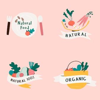 Set van natuurlijke en biologisch voedsel badges vector
