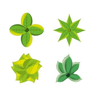 Set van natuurlijke en ecologie pictogrammen bloemen ontwerp