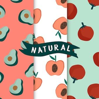 Set van natuurlijke fruit naadloze patronen vector
