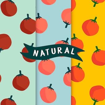 Set van natuurlijke fruit naadloze patronen