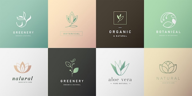 Set van natuurlijke logo voor branding in modern design