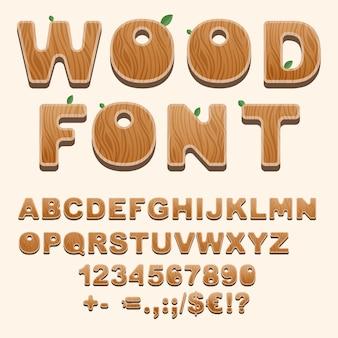 Set van natuurlijke stijl alfabetletters, cijfers, leestekens en schreefloze tekens
