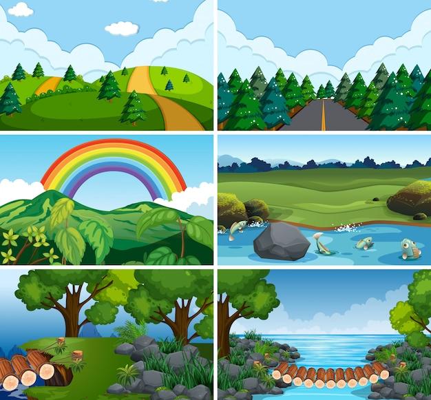Set van natuurscènes
