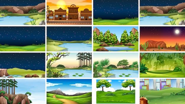 Set van natuurtaferelen of achtergrond in dag en nacht