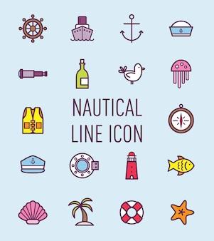 Set van nautisch pictogram