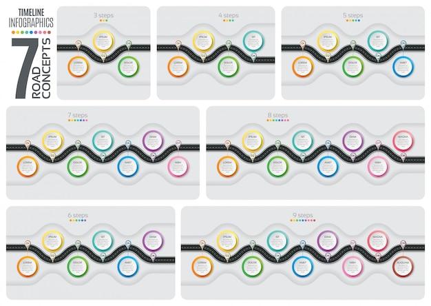 Set van navigatiekaart infotimeline