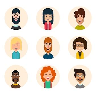 Set van negen avatar vector iconen