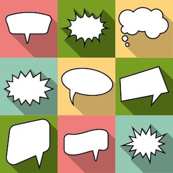 Set van negen cartoon komische ballon tekstballonnen in vlakke stijl. elementen van ontwerpstripboeken zonder zinnen. vector illustratie