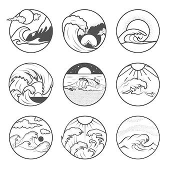 Set van negen emblemen voor de zomervakantie. labels met zon, golven en zand. strand emblemen. zomervakantie, surfen