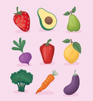 Set van negen gezonde voeding