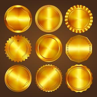 Set van negen gouden commerciële etiketten