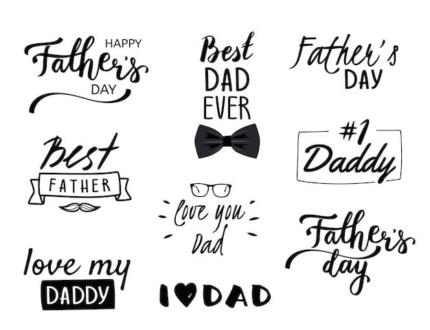 Set van negen kalligrafische op witte achtergrond. gelukkige vaderdag collectie
