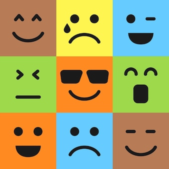Set van negen kleurrijke emoticons. emoji-pictogram in het vierkant. platte achtergrondpatroon. vector illustratie