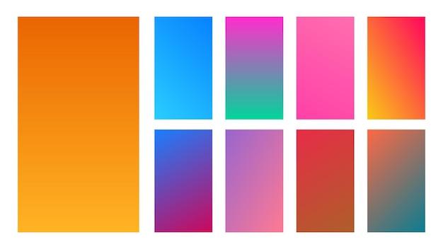 Set van negen kleurrijke gradiëntachtergronden. verzameling van verlopen voor het scherm van smartphones en mobiele apps. vector illustratie.