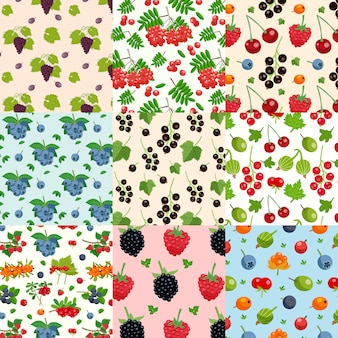 Set van negen naadloze bessen patronen