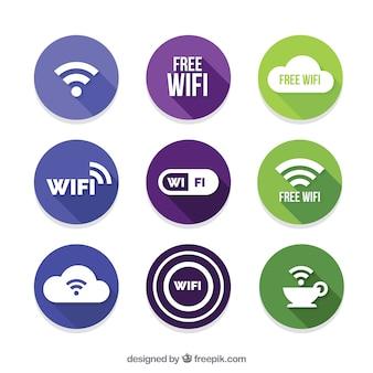 Set van negen ronde wifi stickers