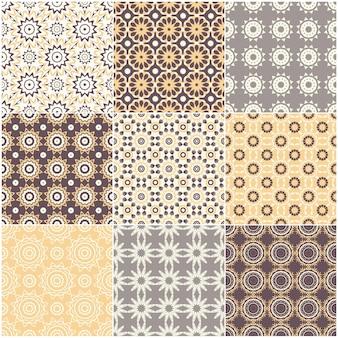 Set van negen vector naadloze geometrische patronen