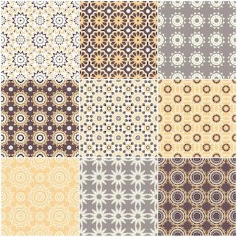 Set van negen vector naadloze geometrische patronen.