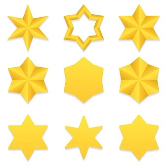Set van negen verschillende gouden zespuntige sterren.
