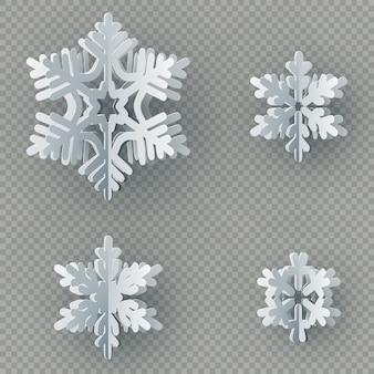 Set van negen verschillende papier sneeuwvlok gesneden uit papier op transparante achtergrond.