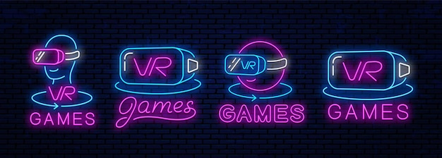 Set van neon iconen van virtual reality