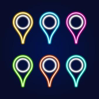 Set van neon teken kaart pin