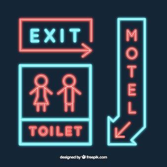 Set van neonreclames voor een motel