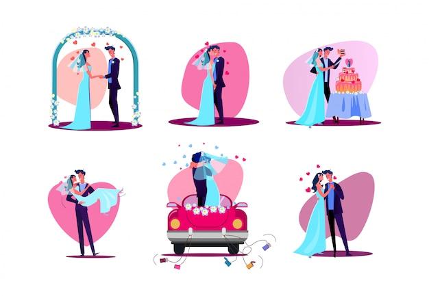 Set van net getrouwd stel