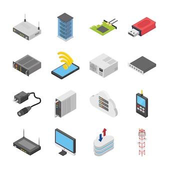Set van netwerk- en datacenterpictogrammen