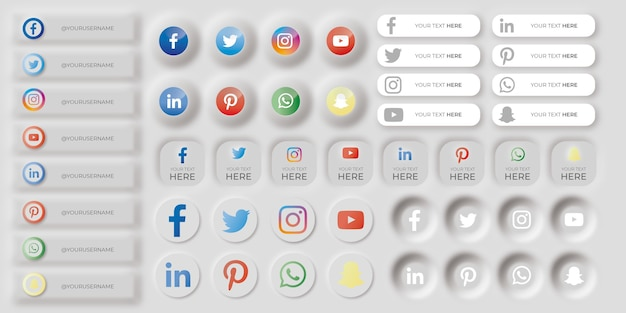 Set van neumorfe social media iconen