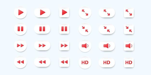 Set van neumorfische ui-ontwerpelementen voor mobiele video-app.