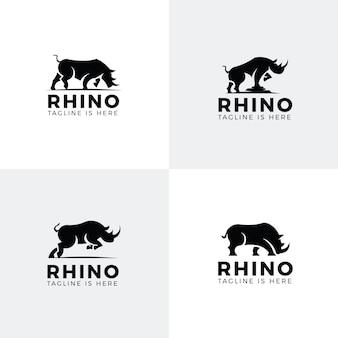 Set van neushoorn logo's