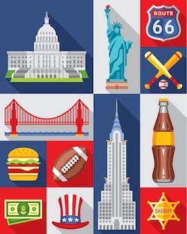 Set van new york stad iconen