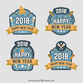 Set van nieuwe jaar badges